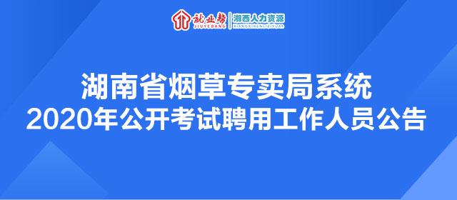 湖南省烟草专卖局系统2020年公开考试聘